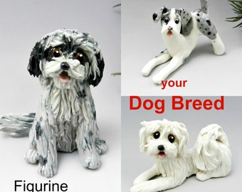 Dog Breed Christmas Ornament Figurine Cake Topper Made to Order Porcelain