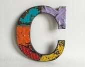 """Tin Ceiling Wrapped 8"""" Patchwork Reclaimed Metal Letter """"C"""" Mosaic Wall Hanging 191-16 Multi-Color"""