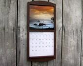 "12"" x 24"" Calendar Frame Wood Frame Calendar Holder in Wood Dark Reddish Barn Brown Burgundy medium size"