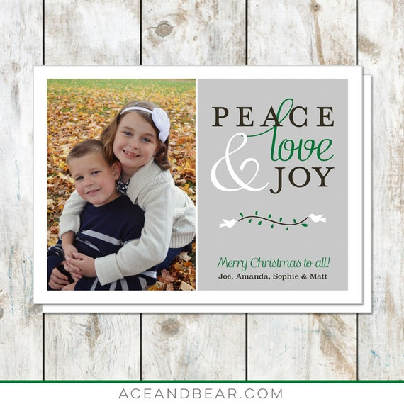 Peace Love and Joy Photo Christmas Card - Personalized Holiday Card - Custom Christmas Card - Classic Printable