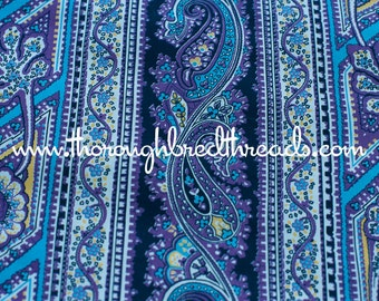 """Purple Paisley Stripe - Vintage Fabric 50s 60s New Old Stock 36"""" wide"""