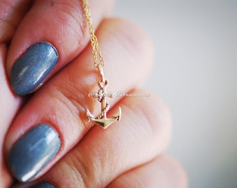 Pirate's Anchor Necklace - Natural Bronze Anchor Nautical Charm - 14K Gold Filled Delicate Chain - Insurance Included