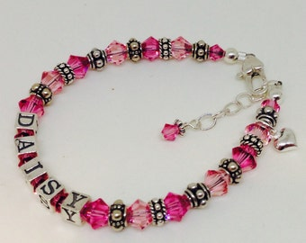 Personalized Kids/Girl Name Bracelet- sterling silver, swarovski crystal, Bali Sterling and charm included