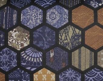 Japanese cotton print - 1/2 yard of indigo Hexagons