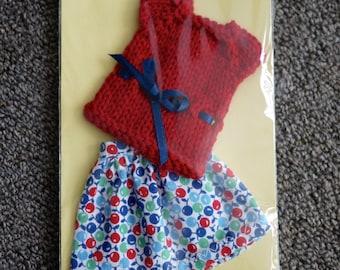 Blythe Skirt & Top Set - Fruit Print Skirt and Red Top