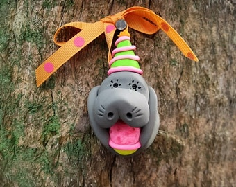 Manatee with Party Hat and Cupcake Ornament