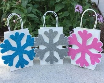 Sparlkle Snowflake Birthday Party Favor Bag