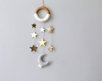 Moon and Star Wall Decor. Small Nursery Wall Hanging. Metallic Wall Mobile. Twinkle Twinkle Nursery.