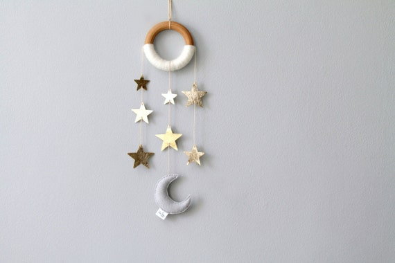 Moon and Star Wall Decor. Small Nursery Wall Hanging. Metallic Wall Mobile. Twinkle Twinkle Nursery.