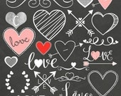ChalkBoard Set  - Valentine Love- Digital Clipart Elements Instant Download