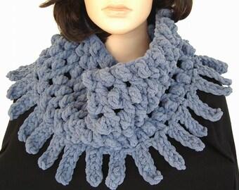 Faded Denim Blue Jean Cowl Neck Warmer Infinity Scarf Chunky Novelty Soft Winter Fashion