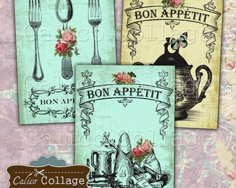 Bon Appetit, Collage Sheet, Cooking Images, Menu Printable, Journal Cards, Mini Cards, Digital Images, Printable Sheet, Digital Download