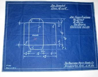 Vintage (1926) Blueprint for Industrial Die for Envelopes