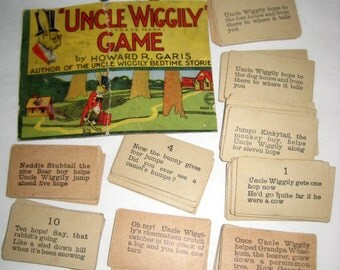 Vintage (Pre-1923) Uncle Wiggly Cards and Wooden Game Pieces for Altered Art, Collage, etc.