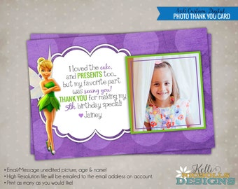 Custom Tinkerbell Photo Birthday Party Thank You Card, Thank You Note #B133