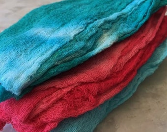 Hand Dyed Cheesecloth Set of 3 Caribbean