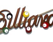 New LARGER Billiards Game Room wood wall sculpture hanging 48x20 by Alisa R Tarpley