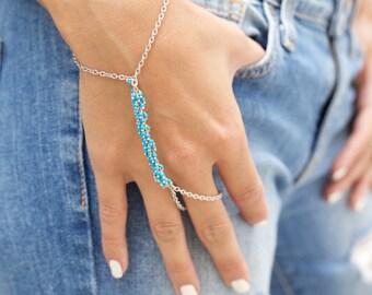 LOVMELY HAND CHAIN. turquoise / bracelet / handchain