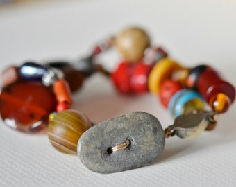 Man's /Large Antique Trade Bead Bracelet