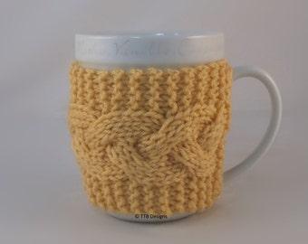 Cornmeal Hand Knit Coffee Mug Cozy Cable