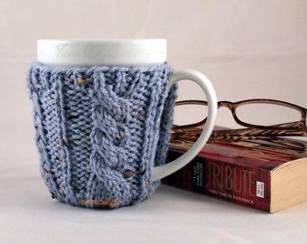 Spa Blue Fleck Hand Knit Cable Rib Coffee Mug Cozy Coaster