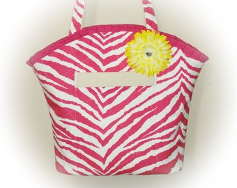 FREE Ship USA Canada - J Castle Boutique Bag - Hot Pink Animal Print Canvas Fabric - (Ready to Ship)