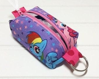 SUMMER SALE - Tiny boxy bag keychain pouch - my little pony