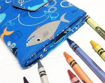 SUMMER SALE - Crayon Wallet - READY To Ship Hip Trendy Travel -  Sharks
