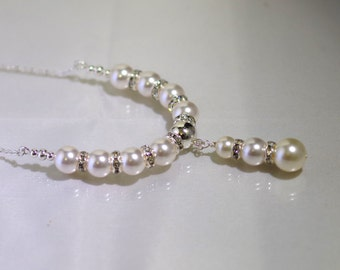 Swarovski Pearl Drop Bridal Necklace-  Made To Order - Shown in White - Available in all Colors