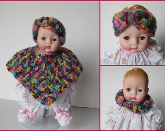 Huggums Poncho Set, Baby Doll Clothes, Doll Poncho, Headband or Cowl, Crochet Doll Clothes, Variegated Yarn Rich Colors, Fits Huggums Dolls
