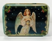 Vintage Angel Christmas Tin, Domed Lid, Country Scene in Winter Around Sides