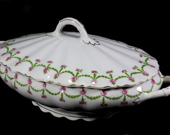 Antique Covered Casserole, White with Garlands and Pink Roses, O & E G, Royal, Made in Austria