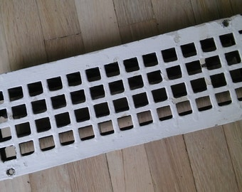 ANTIQUE FLOOR GRATE, White Floor Grate,White Heat Grate,Chippy Painted Heat Register,Cast Iron Floor Grate,Early 20th Cent Floor Grate