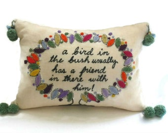 """Vintage Crewel Embroidery Pillow, Whimsical """"Bird in the Bush"""" Pillow, PomPom and Needle Felted Bird Trim"""
