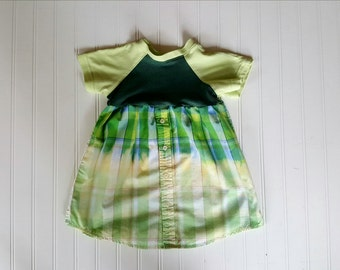 Little Girls size 3T Dress Upcycled Distressed Plaid