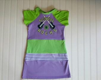 Size 4T T Shirt dress upcycled. School Rocks