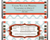 Teacher Appreciation Candy Bar Wrappers and Water Bottle Label