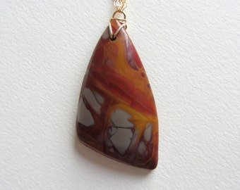 Orange and Red Picture Jasper Statement Necklace - Extra Long Jewelry - Gold Filled