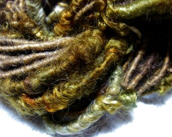 Handspun Hand Dyed Mohair and Wool Embellishment Bulky Art Yarn in Woodland Colors of Gold Brown Green by KnoxFarmFiber for Knit or Weave