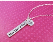2-DAY 20% OFF SALE Runners necklace, Marathon jewelry, Runners jewelry, 5K, Run Like a Girl, Distance bracelet, Girl on the run, sterling si