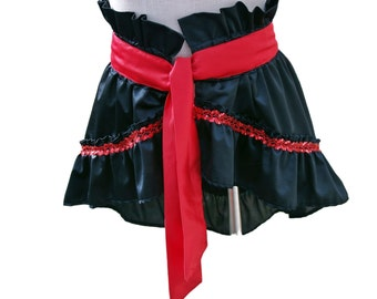 Black Wrap Bustle Ruffle Skirt