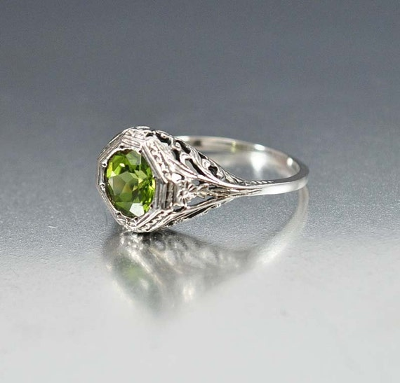 silver peridot ring unique engagement ring gemstone ring
