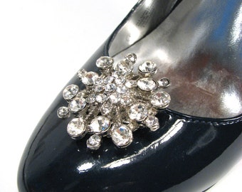 Wedding Shoe Clips Snowflake White Rhinestones 1 Pair Jewelry Prom Shoes Accessories Winter Bride