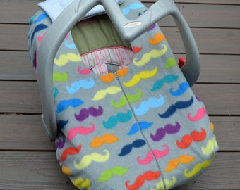Rainbow Mustache Baby Car Seat Cover for Infant Car Seat, Winter Blanket with Zipper
