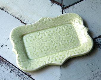 pale green butter dish, 1/2 a stick size