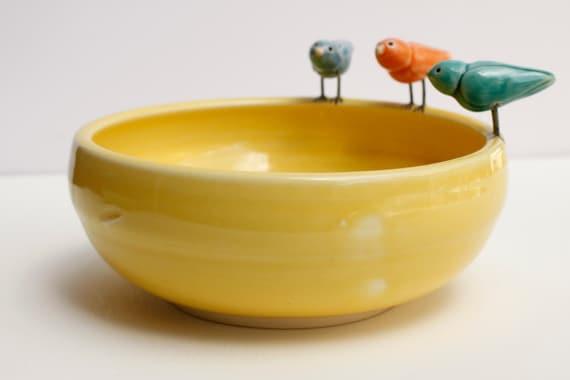 marigold porcelain bird bowl