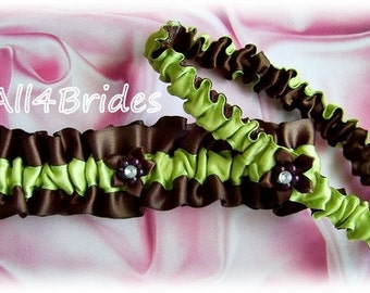 Bridal garter set brown and lime green wedding leg garter belt set.