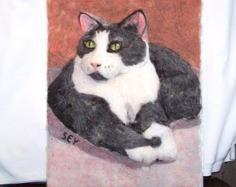 Needle Felted Wool Painting - Dark Grey & White Cat - 3 Dimensional Wall Art - 11x14 Inch - Fiber Art - Gift - Cat Art - Wall Art