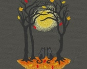 Full Moon Moonlit Autumn Fall Wedding Two Black Cats 8x10 Inch Frameable Embroidery Choose Color Linen