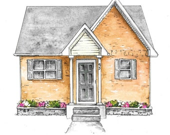 Custom House Painting • Minimalistic Home Portrait • Watercolor Painting • Original Artwork